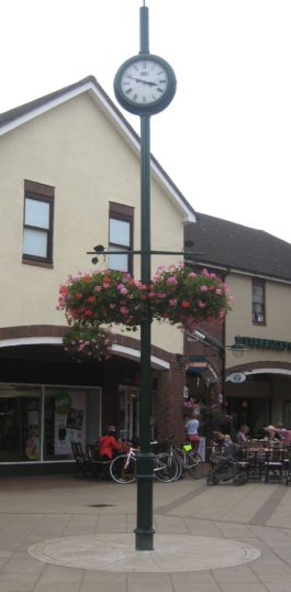 The lamp post in Bircherley Green shopping centre in Hertford with the commemorative roundel at its base
