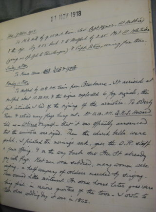 The page of the diary including 11th November, 1918 | Hertfordshire Archives and Local Studies, D/EBUF1