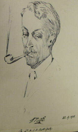 Captain Bushby sketched by Lt. A.J.S. Scott-Gatty | Hertfordshire Archives and Local History, ref: D/EBUF1