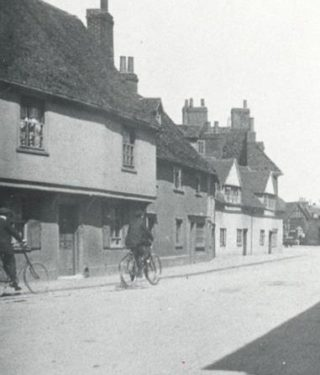 The white cottages on the right of this photograph can still be seen today, but the adjacent ones have been demolished