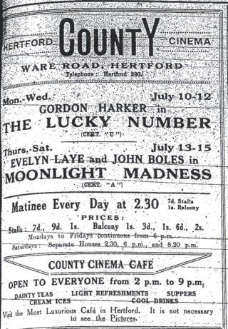 Advert from The Mercury, 1933