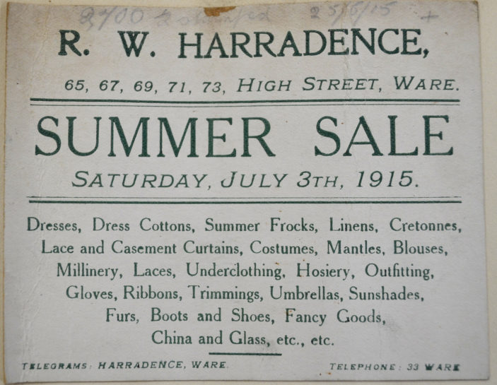 Ad in 1915 | Herts Archives (ref DE/X/275)