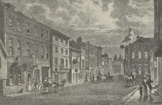The Dimsdale Arms (then the Duncombe Arms) is shown on the left, c1830 | Hertfordshire Archives and Local Studies, D/EGm195
