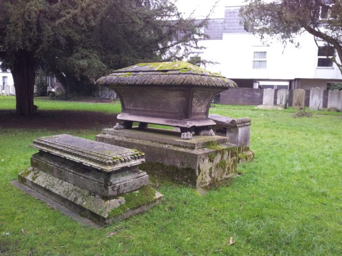 Edward and Elizabeth Chuck's grave in St Mary's churchyard, Ware, 2014 | S Williams