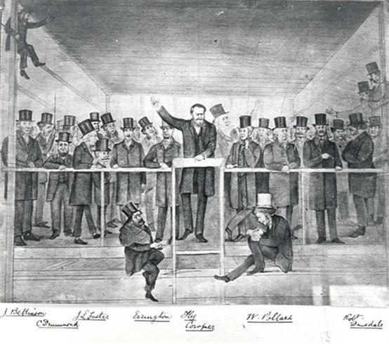 A typical election meeting in Hertford, with Henry Cowper addressing the meeting, 1868 | Hertfordshire Archives & Local Studies