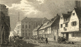 Fore Street in the early 19th century.  The Half Moon Inn can be seen on the left.   Hertfordshire Archives and Local Studies
