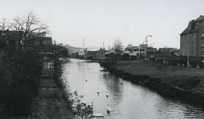 View from the bridge towards Crane Mead