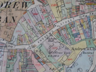 Inland Revenue map, c. 1911. Kiddill's Yard is marked (bottom left) and you can also just make out several other unnamed yards in St Andrew Street