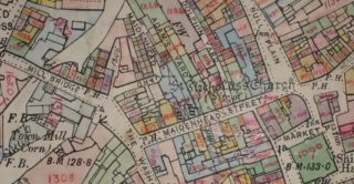 Inland Revenue map, c. 1911, showing the yards in Maidenhead Street, Hertford