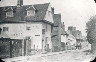 Looking from the Hartham Lane end of Cowbridge before the United Reformed Church was built | Hertfordshire Archives and Local Studies, Mr Elsden