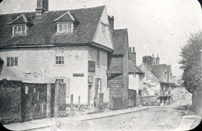 Looking from the Hartham Lane end of Cowbridge before the United Reformed Church was built   Hertfordshire Archives and Local Studies, Mr Elsden