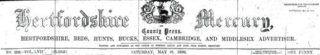 The Hertfordshire Mercury masthead, 28 May 1892 | Hertfordshire Archives & Local Studies