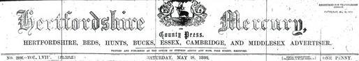 The Hertfordshire Mercury masthead, 28 May 1892   Hertfordshire Archives & Local Studies