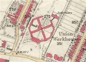 The workhouse on an OS map of 1878 | Hertfordshire Archives and Local Studies