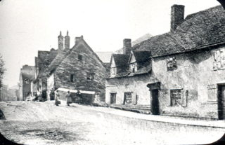 Old cottages on Cowbridge near the bridge over the River Beane, towards the end of 19th century | Hertfordshire Archives and Local Studies