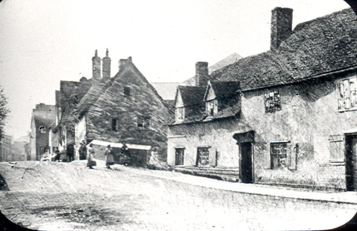 Old cottages on Cowbridge near the bridge over the River Beane, towards the end of 19th century   Hertfordshire Archives and Local Studies