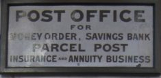 Sign near the letter box at the site of the old post office