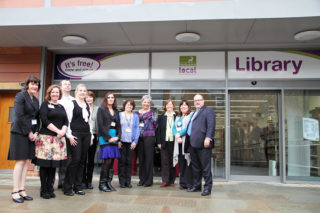Chris Hayward with Library Staff in front of the new building | Dave Hewitt, Vice Chairman HCC