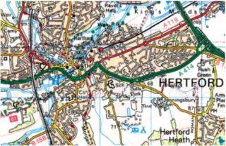 Map of Hertford   (c) Crown Copyright