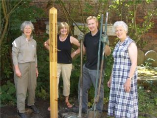 The paece pole being 'planted'