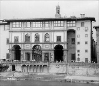 The Palazzo degli Uffizi on the banks of the River Arno.