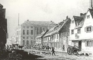 This engraving of Fore Street in Hertford, published in 1823, shows the Shire Hall in the background. Note that there is no clock on the building as this was not added until 1824