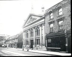 The Corn Exchange with Willson's wine merchants to the east