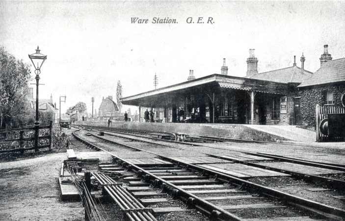 Ware Station - showing the old pedestrian access crossing | Hertfordshire Archives and Local Studies