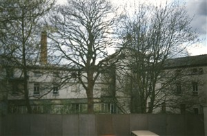 Rear view 1990 showing the boiler house chimney | C Williams