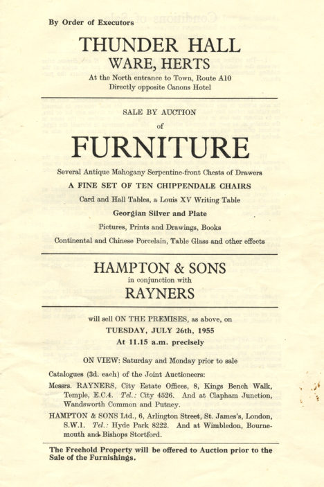 Brochure for the sale in 1955 | Hertfordshire Archives & Local Studies (ref Acc 5021)