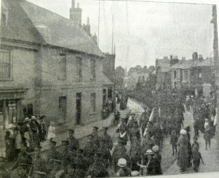 The Regiment parading through Cowbridge, Hertfordshire Mercury