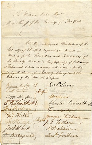 Petition from Hertford and North Herts re the abolition of slavery, 1830   Hertfordshire Archives and Local Studies [Ref: 52860]