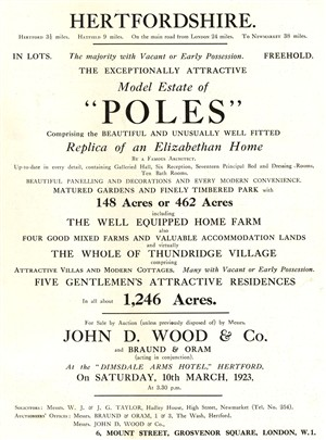From sales particulars in 1923 | Hertfordshire Archives & Local Studies