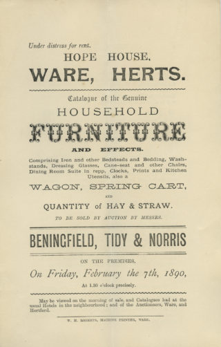 Sales particulars of the contents, 1890 | Hertfordshire Archives and Local Studies