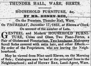 Furniture sale in 1835, Hertfordshire Mercury | Hertfordshire Archives & Local Studies
