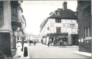 In the centre is S Neale's shop on the corner of Fore Street & Market Street