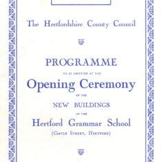 Opening of Hertford Grammar School New Building