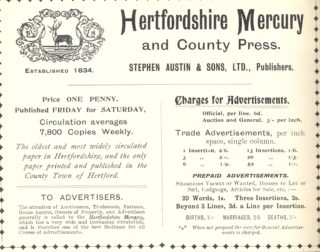 An advertisement from Kelly's Directory of Hertfordshire, 1912