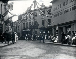 A later photograph showing O.E. Bruton's clothiers on the right