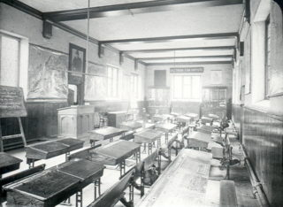 The schoolroom of Hale's Grammar School at the end of 19th Century