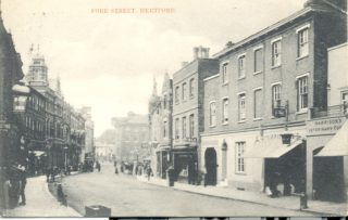 On the right is Harrison's veterinary surgery with, presumably, Peak's chemist to the west and then Chard's Pianoforte Warehouse