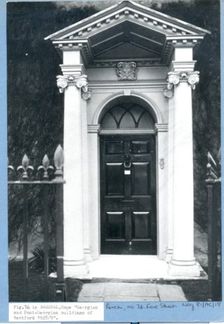 The front door of number 74