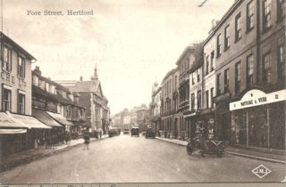 A view of Fore Street looking east with Partidge & Webb's shop on the south side.