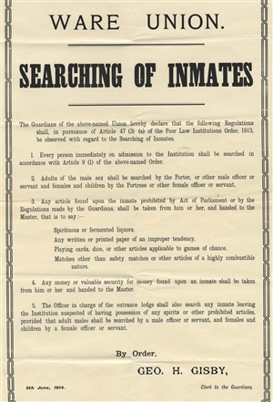 Notice for the searching of inmates on arrival | Hertfordshire Archives and Local Studies