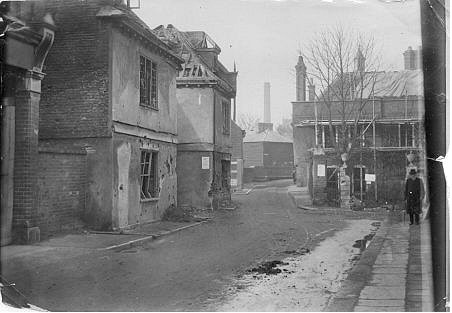 Bull Plain, showing damage following the air raid | Discover Hertford (https://www.hertford.net)